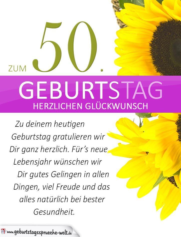 Schlichte Geburtstagskarte Mit Sonnenblumen Zum 50 Geburtstag