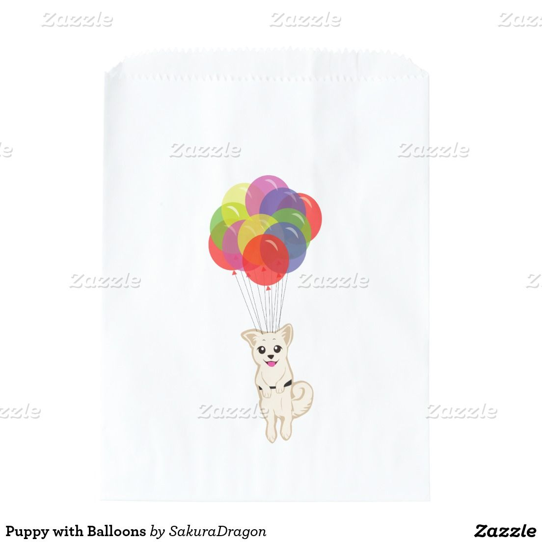 Puppy with Balloons Favor Bag #dogs #puppy #party #balloons #birthday