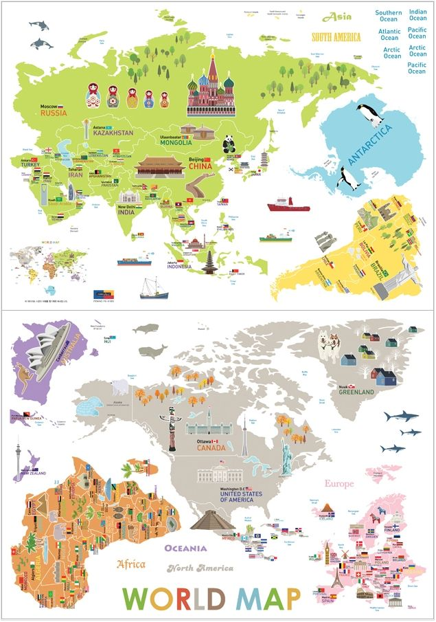 Big map of the world kids eco friendly removable wall reusable big map of the world kids eco friendly removable wall reusable stickers decals ebay gumiabroncs Choice Image