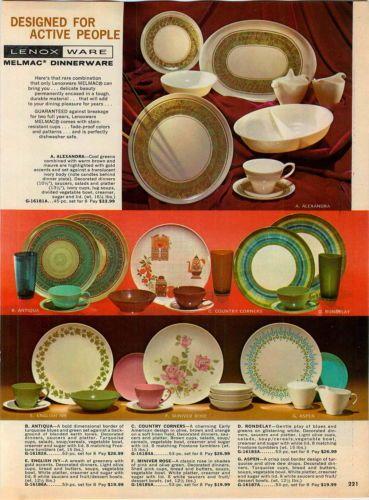 1966 Ad Lenox Ware Melmac Dinnerware China Plates Antiqua Rondelay