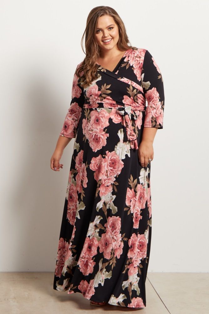 56504629079 Black Floral Sash Tie Maternity Nursing Plus Size Maxi Dress