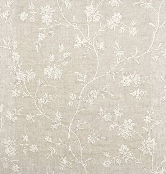 Hermione Embroidered Curtain Fabric Neutral Linen Curtain Fabric