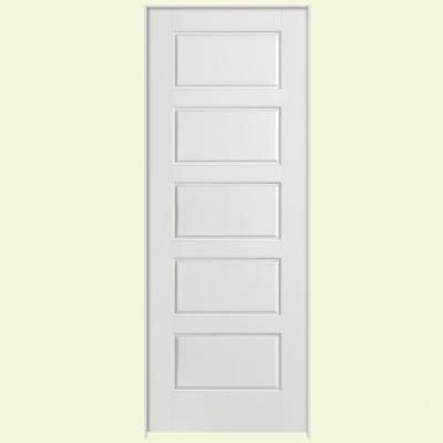 Masonite 24 in x 80 in solidoor riverside 5 panel solid core smooth primed composite single for Solid core interior doors soundproof