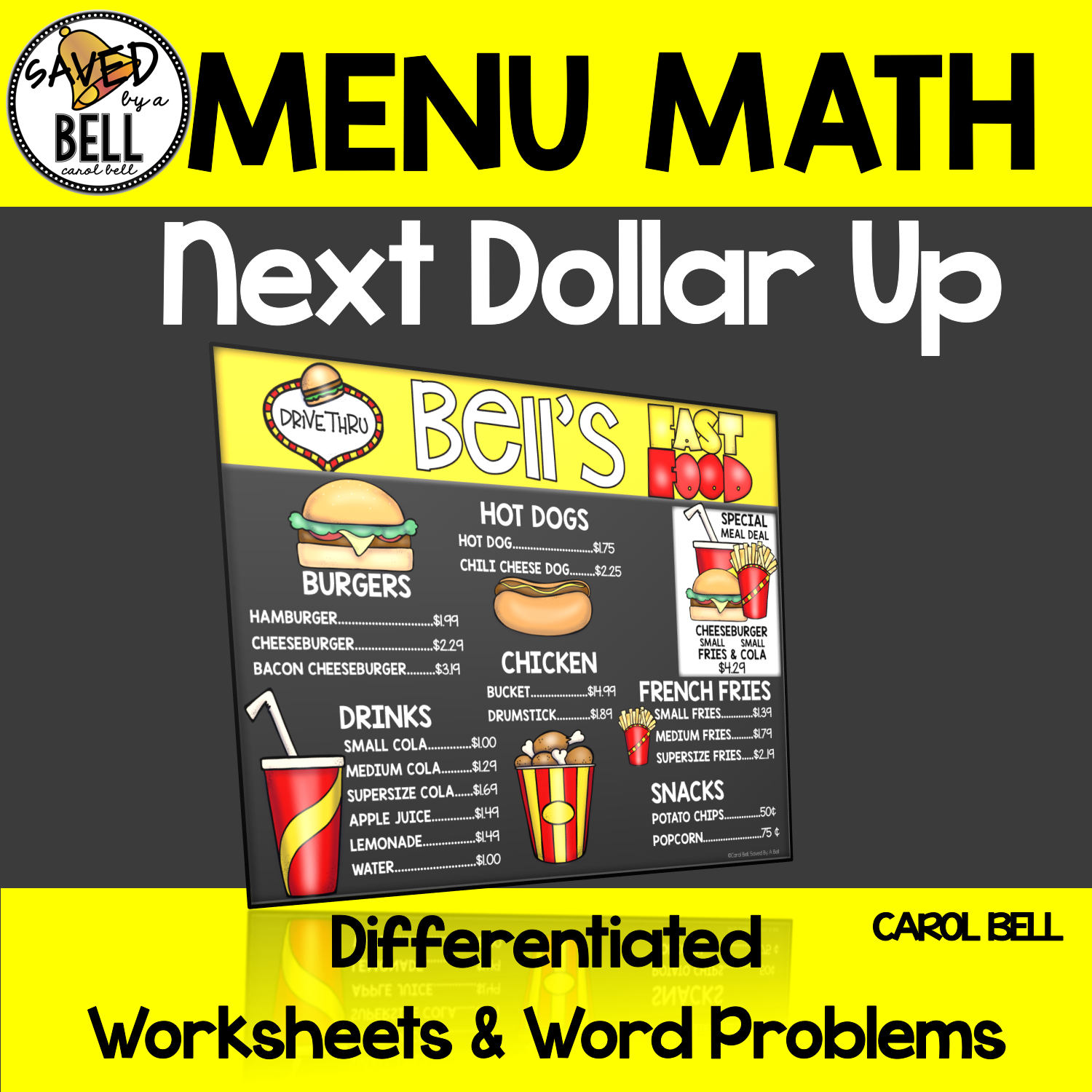 Next Dollar Up Worksheets Menu Math From Saved By A Bell