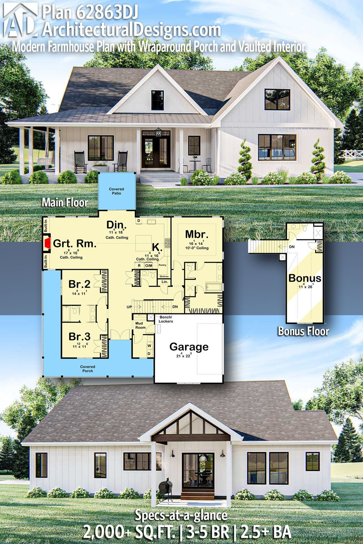 Plan 62863dj Modern Farmhouse Plan With Wraparound Porch And Vaulted Interior Modern Farmhouse Plans Farmhouse Plans House Plans