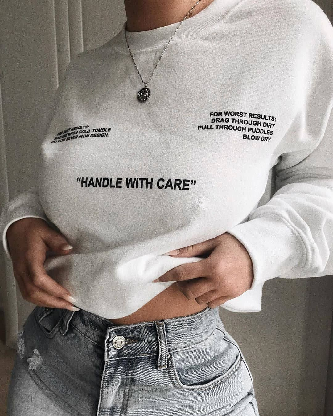 "b97458bb8799 boohoo.com on Instagram: ""Cosy feels 💭✨💭✨ Tap to shop @xkayleyjonesxo's  sweat, or 🔍 FZZ98286. #BOOHOObabes"""