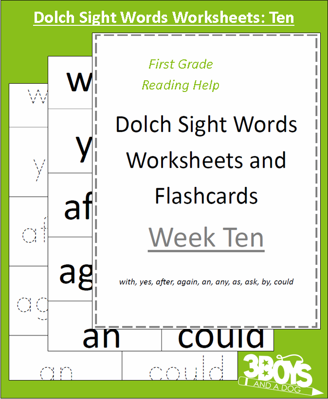 Dolch Sight Words Worksheets: Week Ten