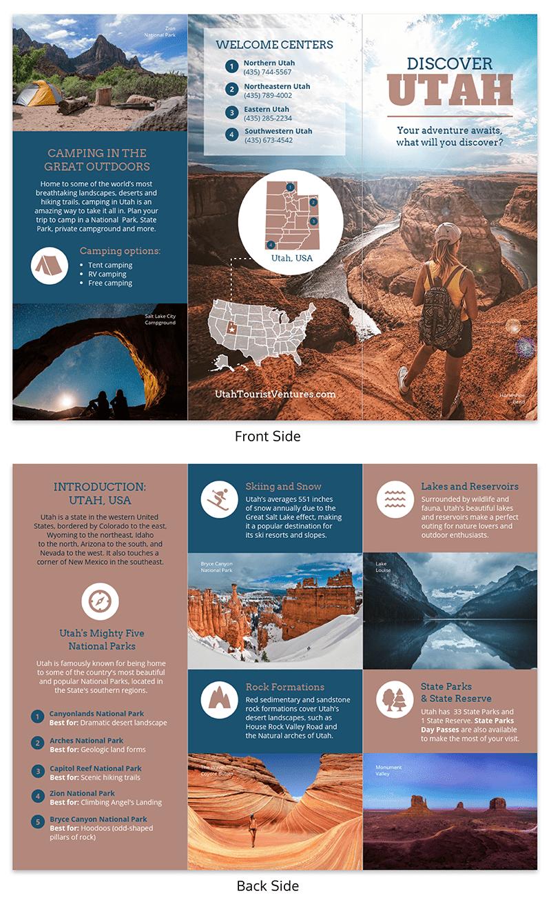 Utah Travel Brochure Brochure Examples Travel Brochure