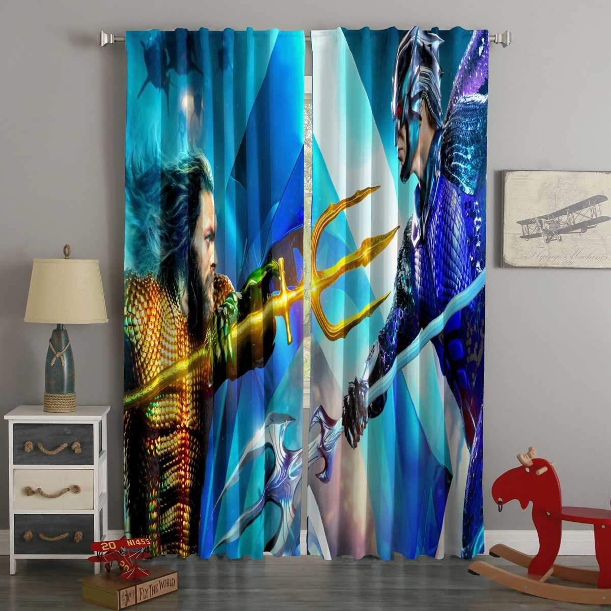 3d Printed Aquaman Style Custom Living Room Curtains Westbedding