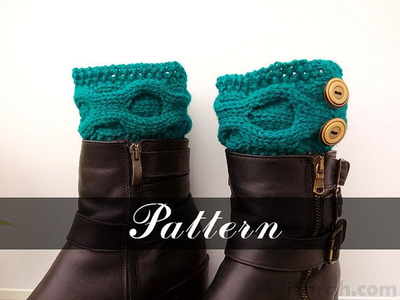 Kniting Pattern Boot Toppers Cable Boot Cuffs Instant Download Knit