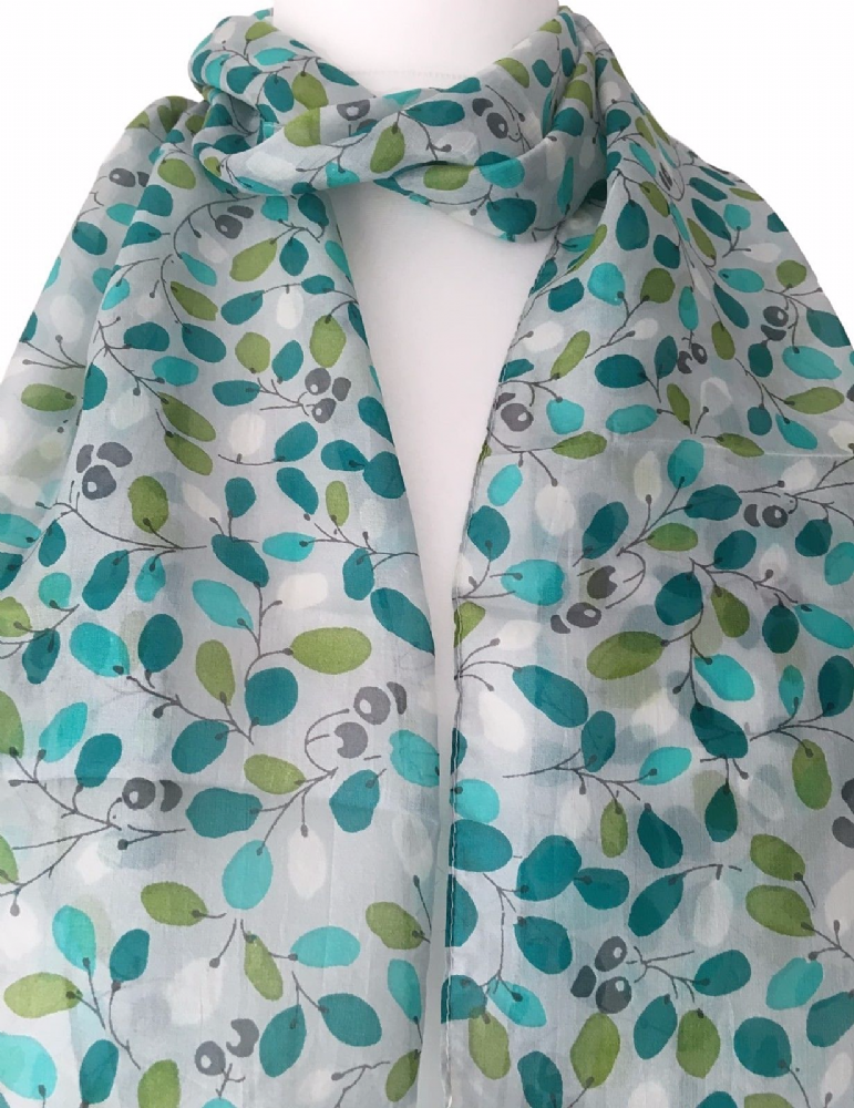 100 Pure Silk Scarf Pale Grey With A Green Blue Abstract Style Floral Print Light Weight And Soft The Perfect F Green Silk Scarf Pure Silk Scarf Womens Scarves