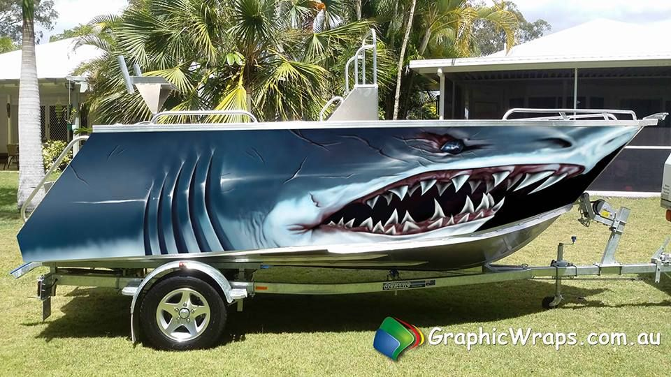 Monster Shark Boat Wrap Illustrated Graphic Monster Boat