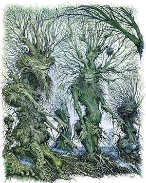 """Green Ents   2010 Pen- ink-watercolour - illustration board.  This was a private commission for a patron in the USA. The brief: """"Anything with Ent's in."""" Back in the late 70's I contributed images to a book called A Tolkien Bestiary by David Day, and it was then I made my first stab at drawing walking trees. Strange to say, I've never stopped drawing them. The thought that a tree might actually talk and   start walking is rather wonderful, although I'm not sure  the dog would approve."""
