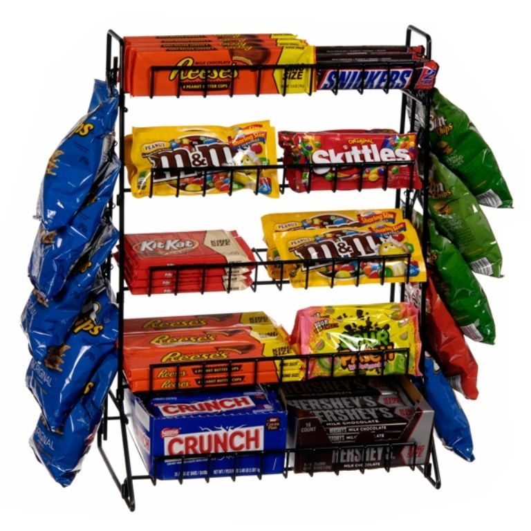 Fast Shipping Countertop Candy Display Rack 5 Shelf W Side Chip