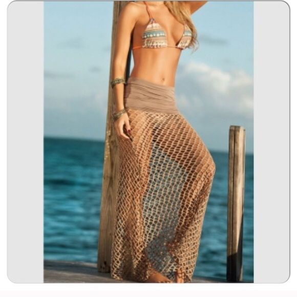 b94af19fd1d74 Sexy Khaki Fishnet Beach Skirt Cover Up Stretchy Beach Cover Up Swim  Coverups