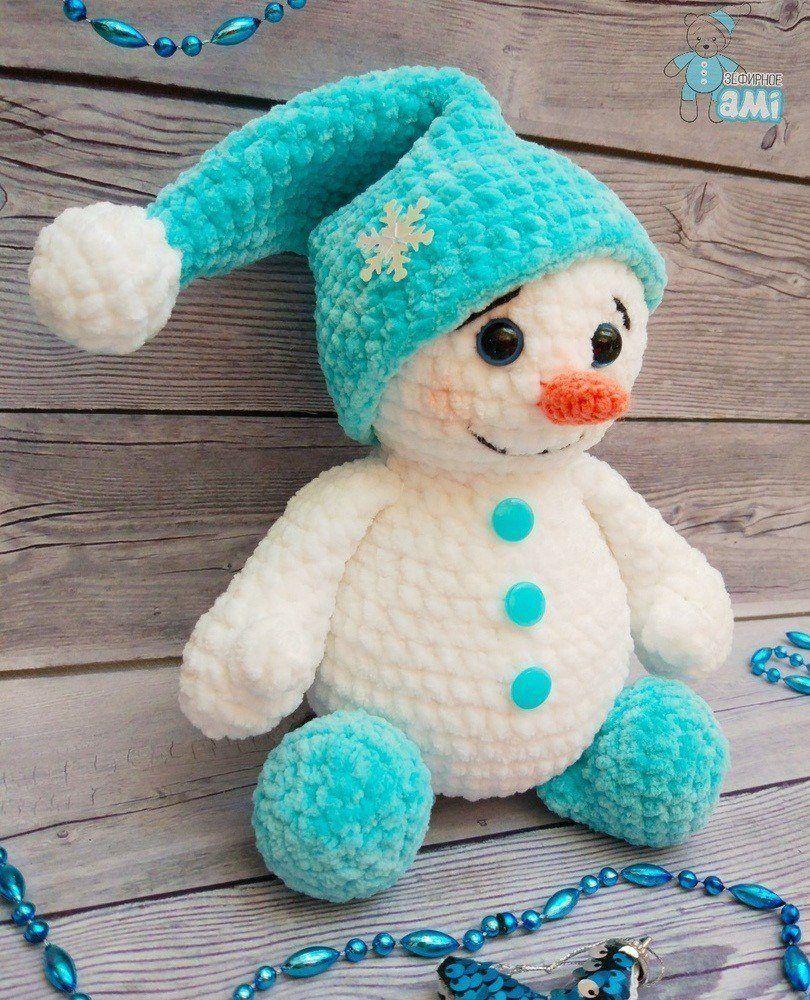 Bonhomme de neige en peluche au crochet   – Ferien häkeln