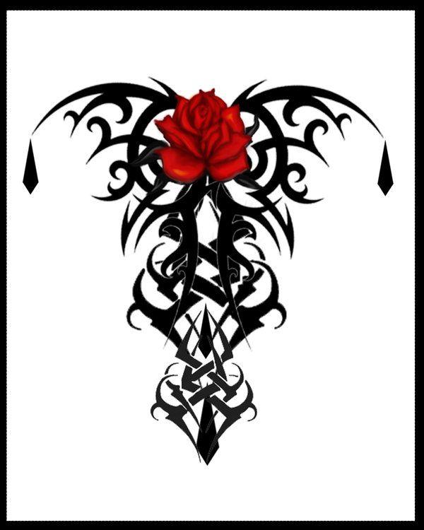 Gothic Rose Tattoo Print V1 By Quicksilverfury On Deviantart Tribal Rose Tattoos Goth Tattoo Rose Tattoo Design