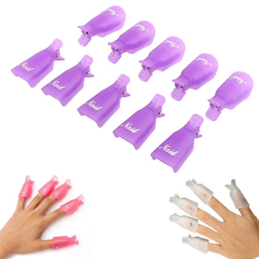 10PC Plastic Nail Art Soak Off Cap Clip UV Gel Polish Gel Nail ...