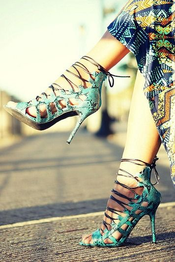 Python Lace Up Heels from PinkBasis.com