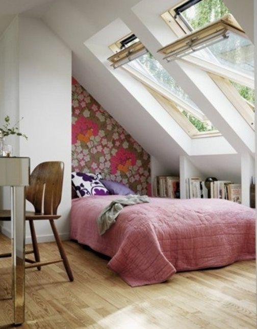 superb kleines schlafzimmer mit dachschrage einrichten #1: Schlafzimmer-mit-Dachschräge-große-fenster
