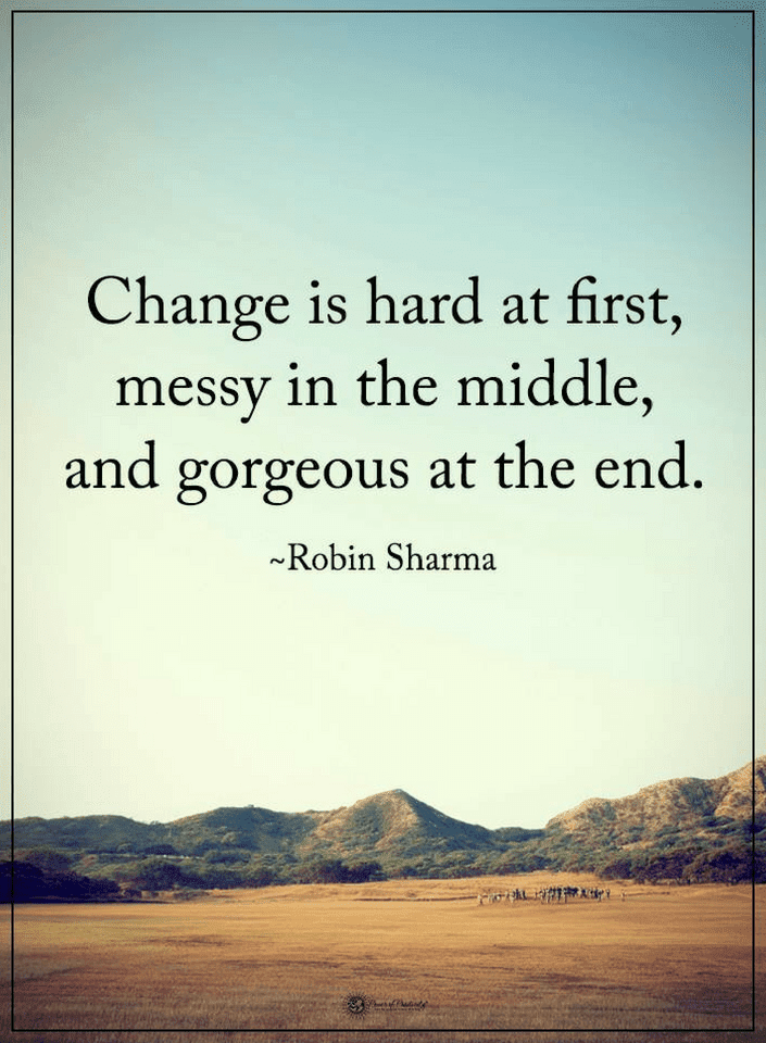 robin sharma idézetek Quotes Change is hard at first, messy in the middle, and gorgeous