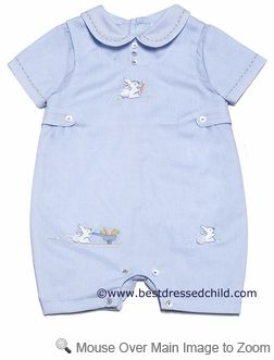 a6aea556a Sarah Louise Infant Boys Blue Embroidered Easter Bunny Romper ...