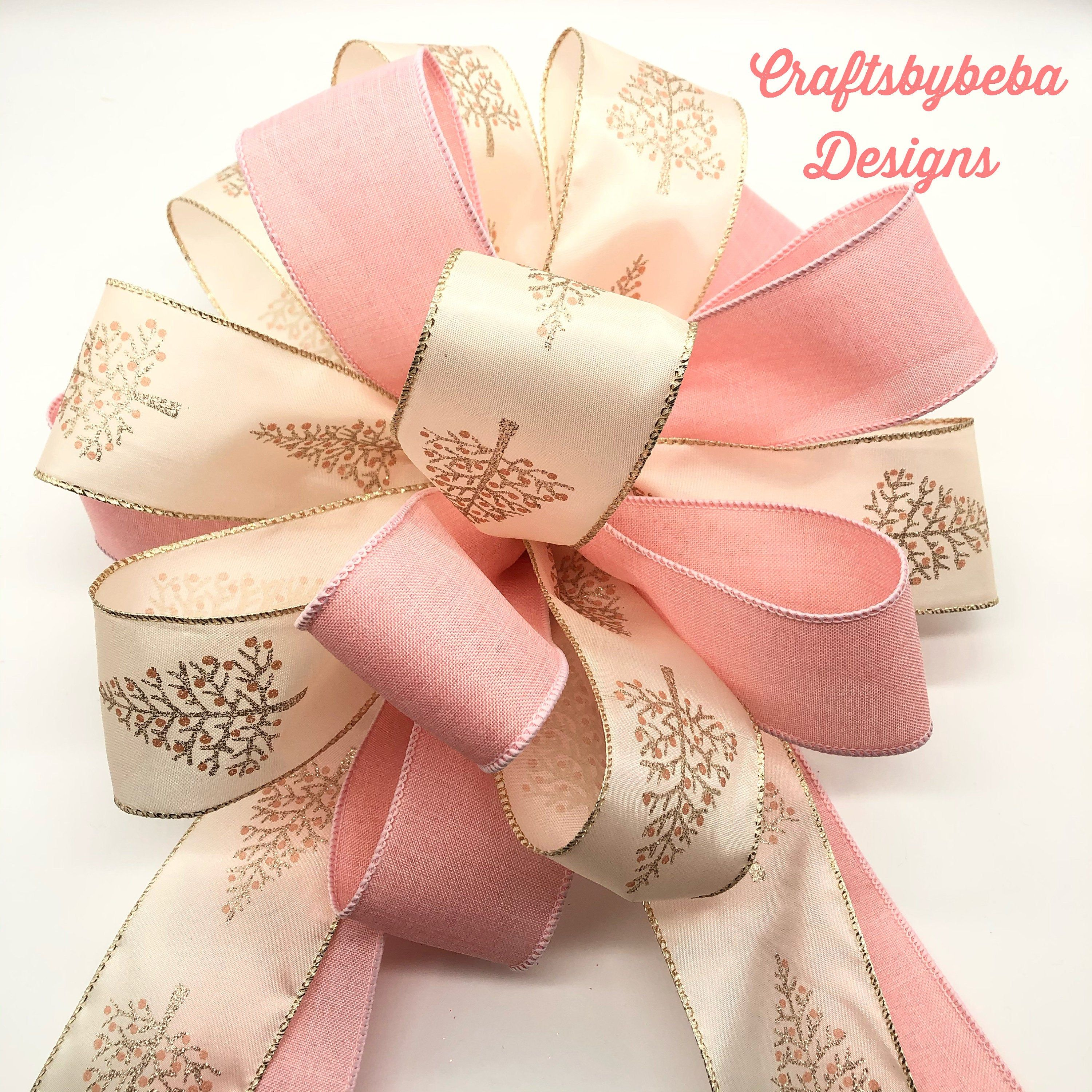 Blush Pink Christmas Tree Topper Xmas Tree Topper Blush Color Christmas Decorative Bow Ch Christmas Tree Bows Pink Christmas Gifts Christmas Tree Toppers