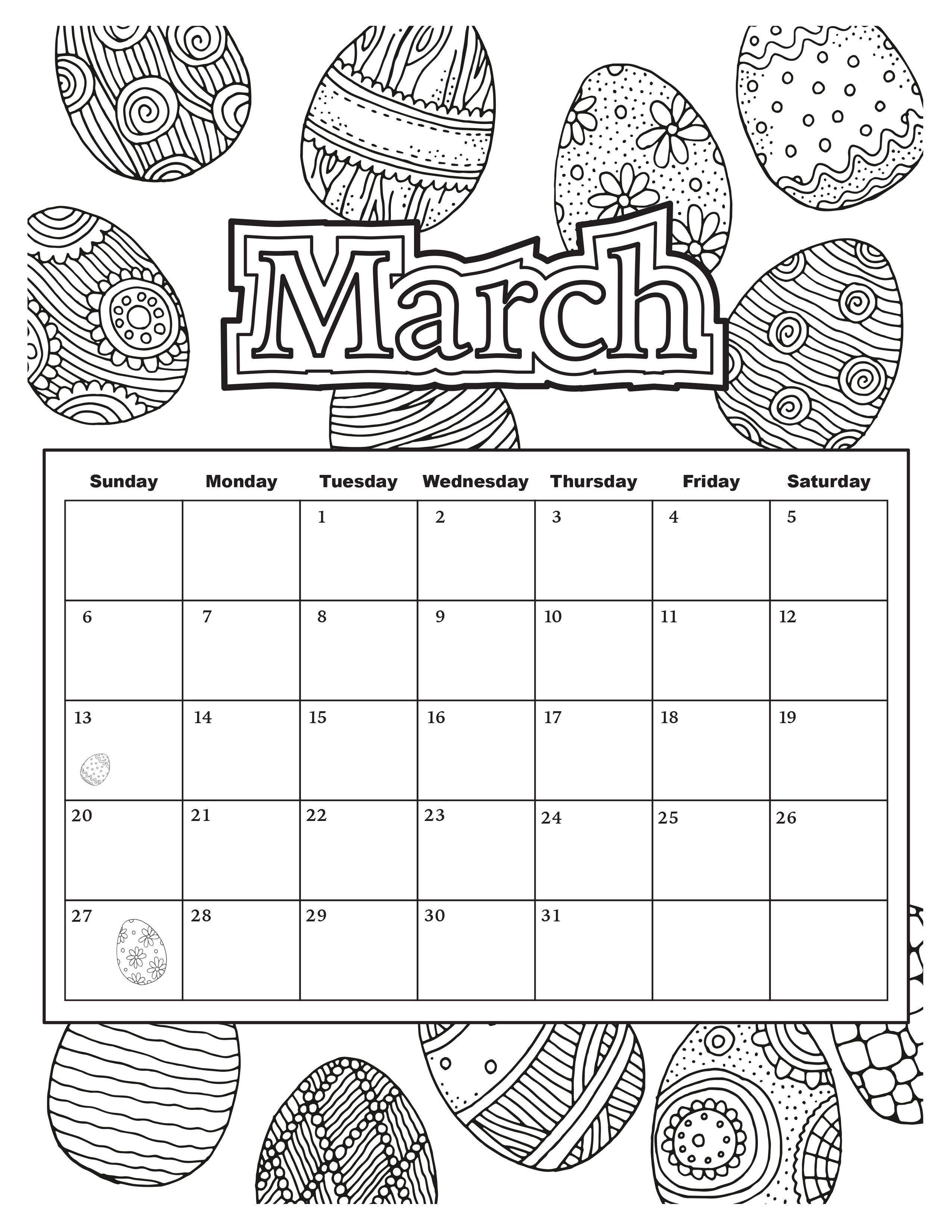 March Calendar Coloring Pages For Adults Pinterest March