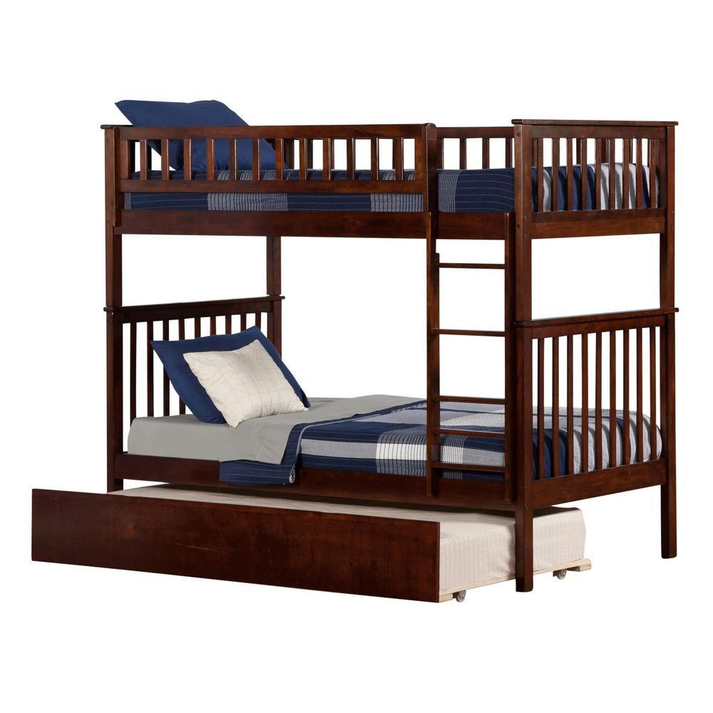 Boys' twin loft bed with storage steps  Atlantic Furniture Woodland Walnut Brown Twin Over Twin Bunk Bed