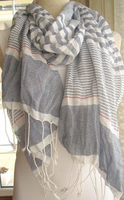 6df57c88b37 Turkey ivory Grey stripe - Long Scarf Spring FASHION unisex man woman  crinkle Turkish Scarf fashion scarves 2012 fashion gift scarf.