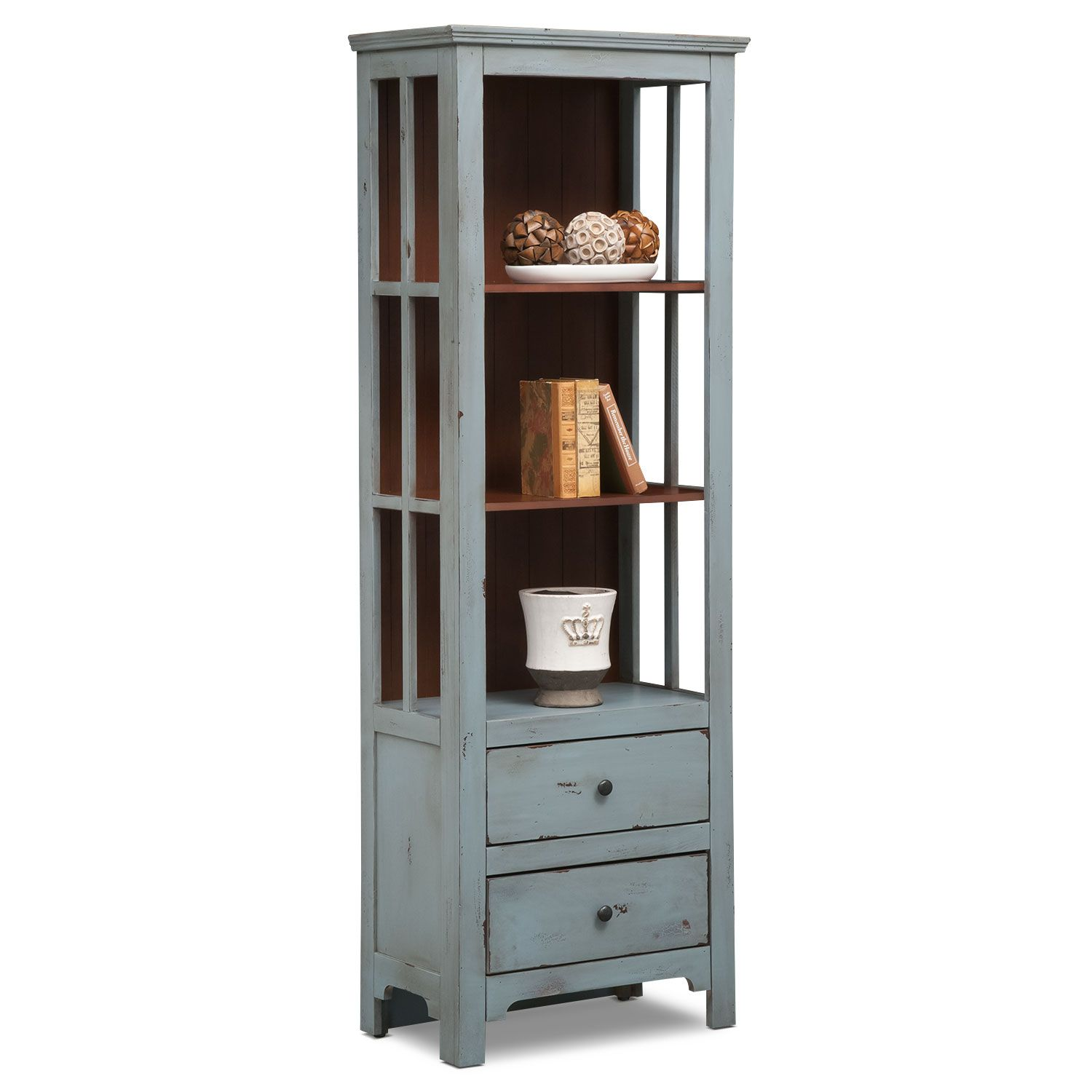 The Gorgeous Looks Of The Uncomplicated Keefe Blue Bookcase Are  Irrefutable. Its. Value City FurnitureAccent ...