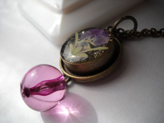 Pressed Flower Necklace by TheOmbrePoodle on Etsy, $12.00