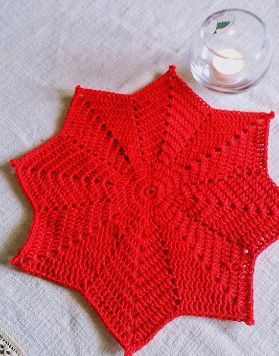 Roter Stern Tischdekoration Deckchen Tischdecke | crochet / häkeln ...