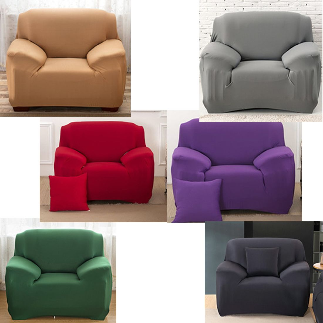 Elastic Single Cover Solid Color Cover For Sofa Stretch Home Decoration Sofa Cover For Living Drawing Room Single Sofa Sofa Covers Sofa