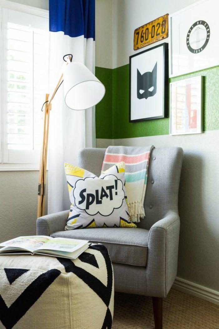 lit ado chambre d ado avec personnage bd masque et fauteuils gris coussins avec des exclamations - Fauteuil Gris Pour Chambre
