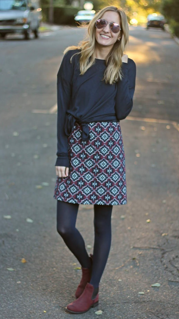c8a6f8538f2177 WEARING A FALL DRESS AS A SKIRT - As first seen on blog Michelle's Pa(i)ge:  WEARING A FALL DRESS AS A SKIRT She is wearing tights similar here: Black  Opaque ...