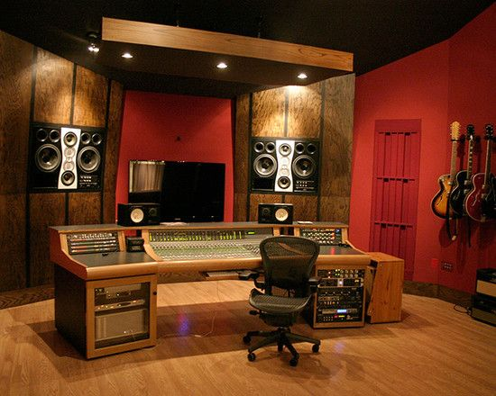 Charming Home Recording Studio Design Ideas Using Red
