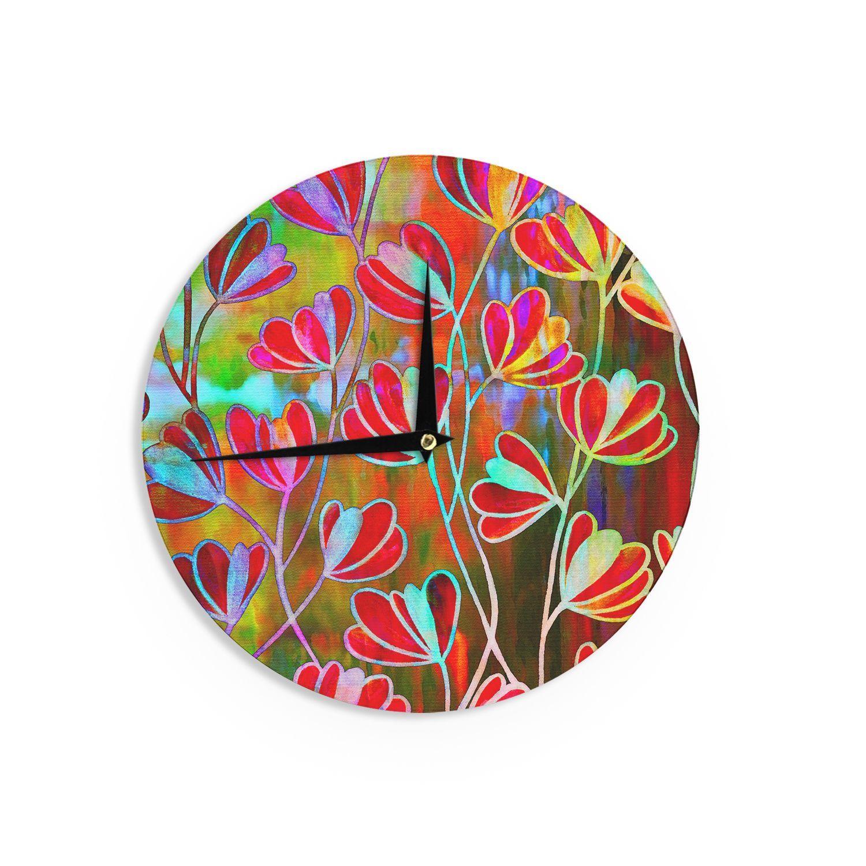 Kess InHouse Ebi Emporium 'Efflorescence - Technicolor' Red Multicolor Wall Clock (Efflorescence - Technicolor) (Wood)
