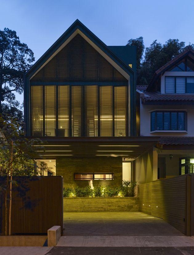 Gabled roof jazzes up minimalist y house singapore 26 façade jpg