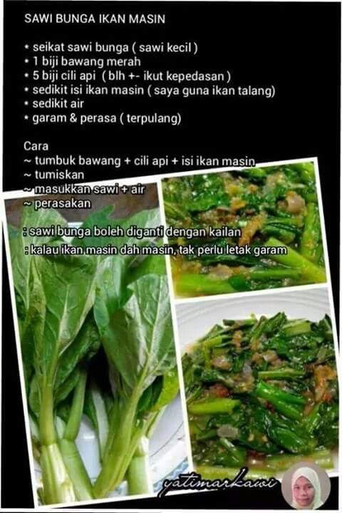 Sawi Bunga Ikan Masin Vegetables Cabbage Food