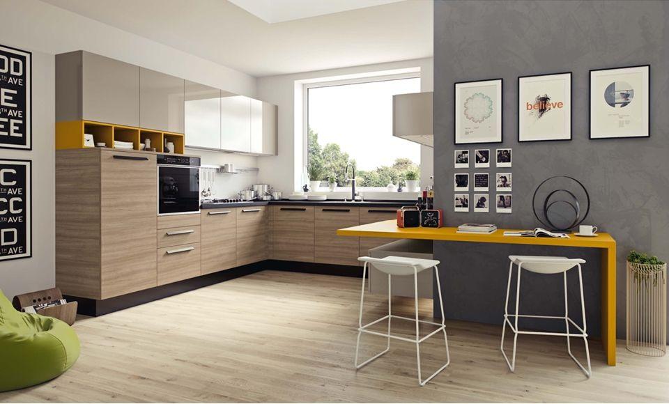 Yellow table contemporary kitchen - Record è Cucine #design #modernhome