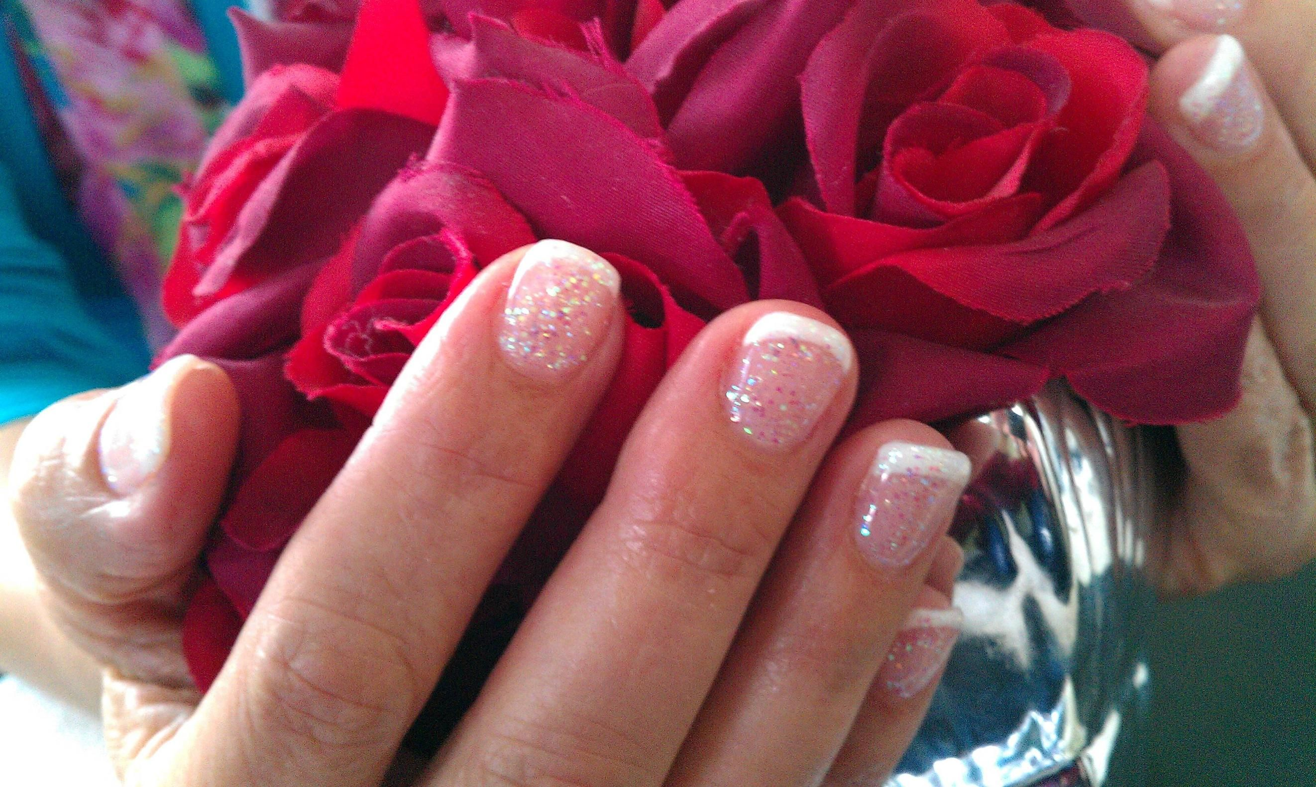 Gel French manicure with fairy dust glitter gel overlay. One of my ...