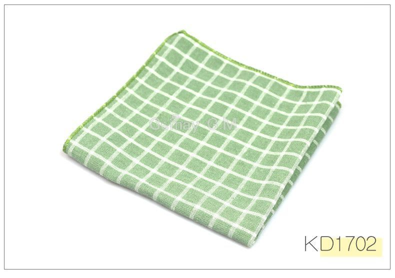 High Quality Hanky Scarves 100% Cotton Plaid Hankies Men's Pocket Square Handkerchiefs 23*23cm
