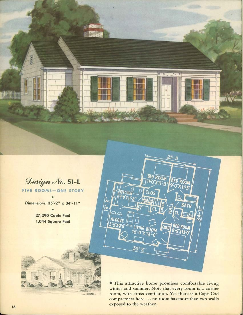 Modern small homes from enduring products of the forests ... on l shaped ranch house plans, original levittown house floor plans, 1945 house plans, cape cod cottage plans,