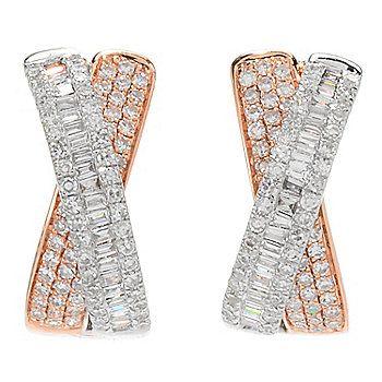 EFFY 14K Rose Gold Two-tone 0.92ctw Diamond Crossover Hoop Earrings