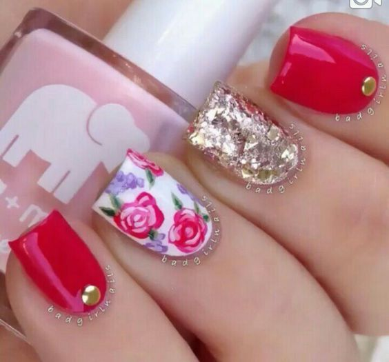 Very Y Red And Gold Nail Designs Nails C