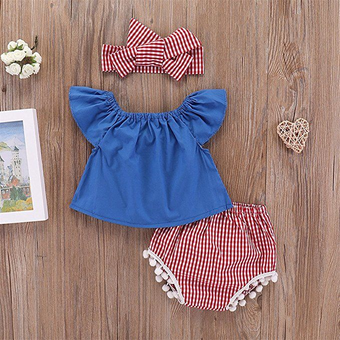 Newborn Baby Girl Off Shoulder Floral Ruffle Sleeve Plaid Tops Shorts Headband 3Pcs Outfit