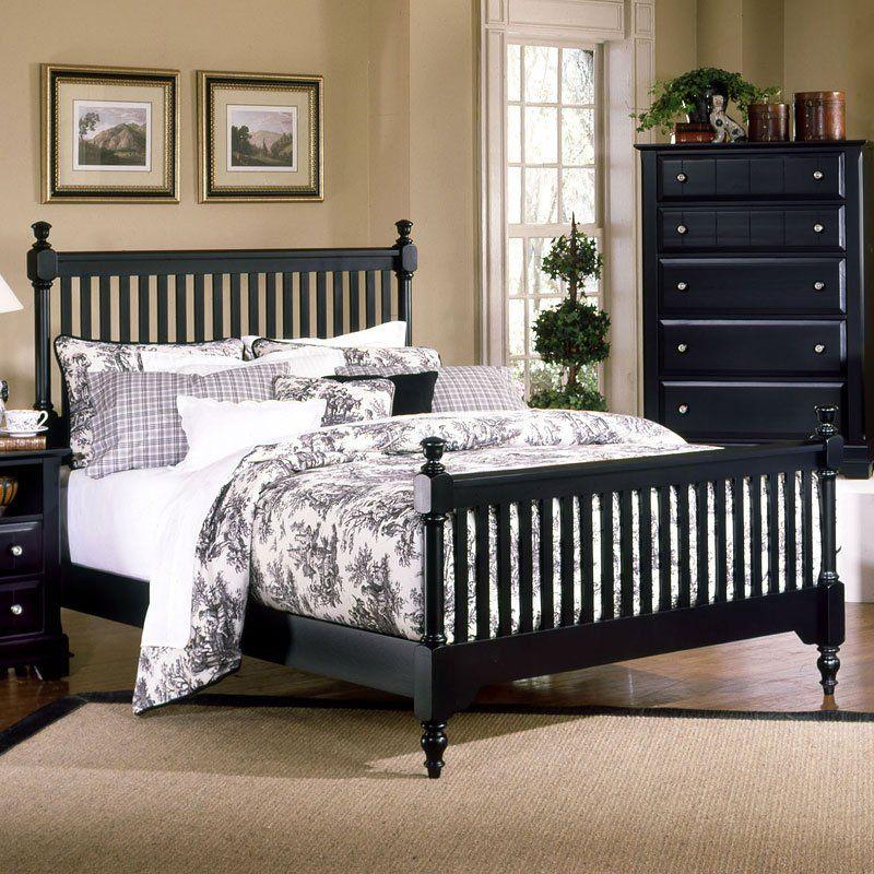 Cottage Slat Poster Bed (Black) in 2019 Bed furniture