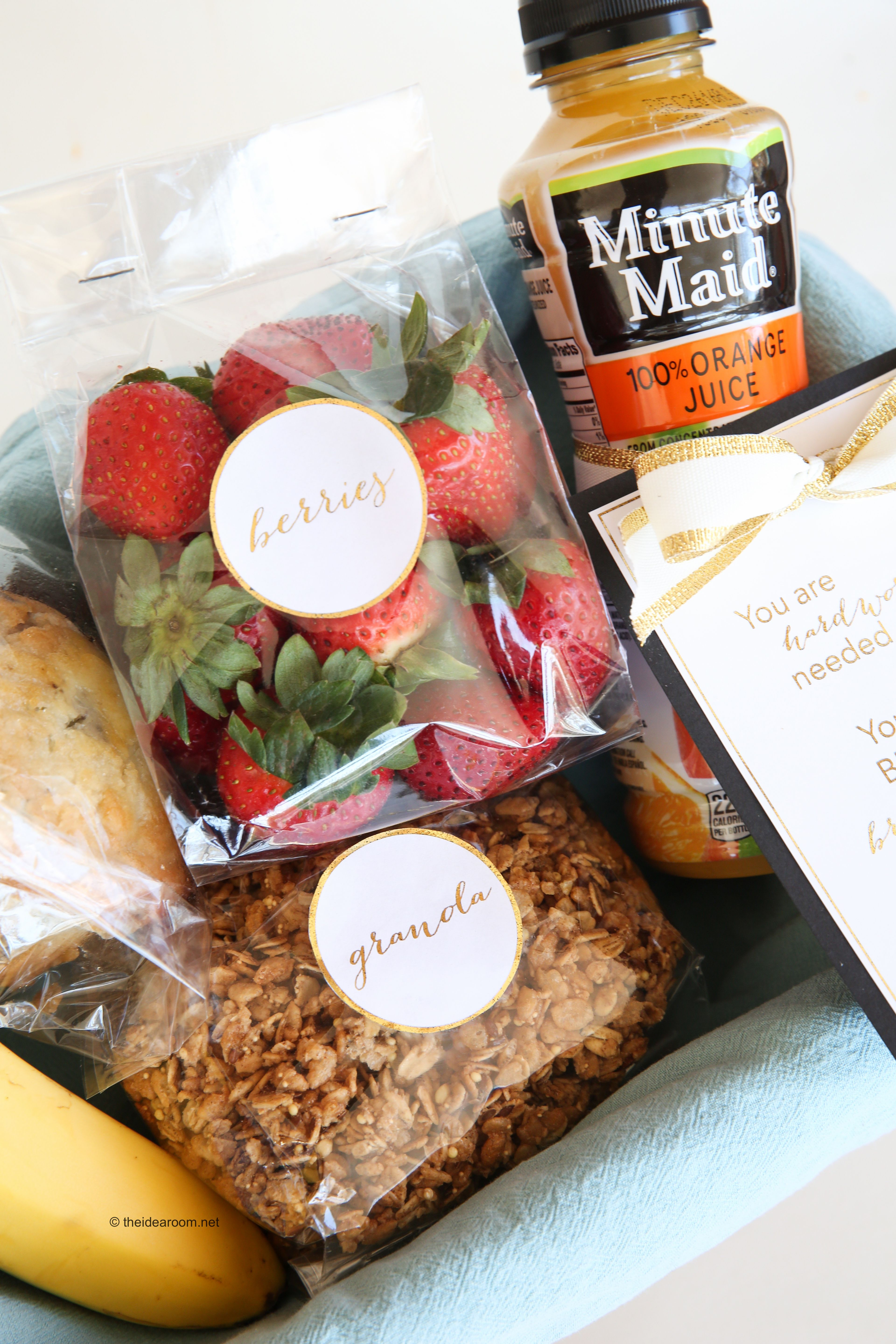 Breakfast in Bed Gift Basket Idea and Printables