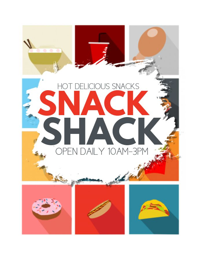 Colorful Snack Bar Poster Flyer Social Media Post Template